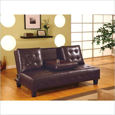 Coaster Convertible Sofa Bed with Drop Down Cup Holder in Brown