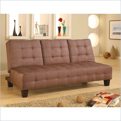Coaster Microfiber Sofa Bed with Drop Down Cup Holder in Tan