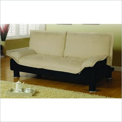 Coaster Convertible Microfibre Sofa Bed in Beige and Black