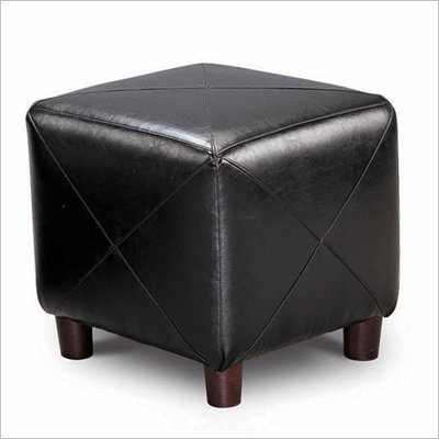 Coaster Contemporary Faux Leather Cube Ottoman in Black