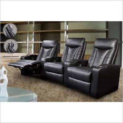 Coaster Pillow Top Four Piece Leather Match Theater Seating Set in Black