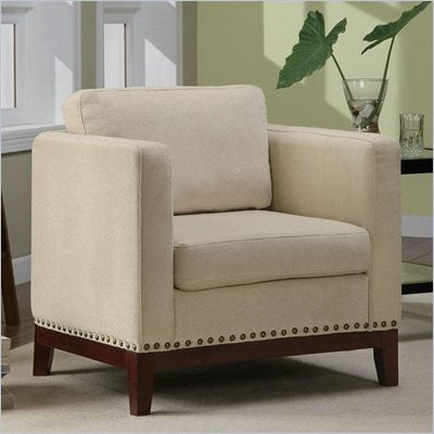 Coaster Club Chair in Beige with Walnut Colored Legs