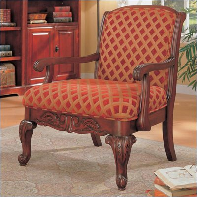 Coaster Cherry Upholstered Chair with Wood Armrests