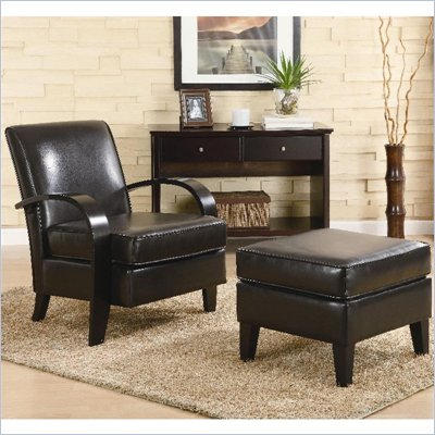 Coaster Accent Seating Bentwood Chair with Ottoman in Bonded Leather