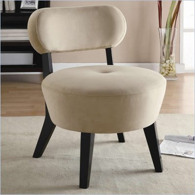Coaster Accent Seating Exposed Wood Microfiber Accent Chair in Cream