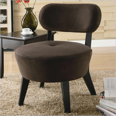 Coaster Accent Seating Exposed Wood Microfiber Accent Chair in Mocha