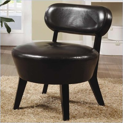 Coaster Accent Seating Exposed Wood Leather Accent Chair in Brown