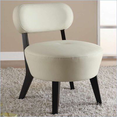 Coaster Accent Seating Exposed Wood Leather Accent Chair in White