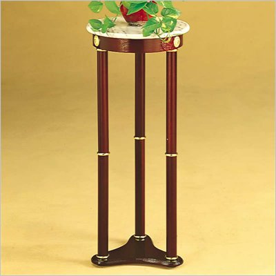 Coaster Accent Stands White Marble Top Round Plant Stand in Cherry