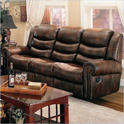Coaster Aiden Reclining Sofa with Dual Recliner in Leather Like Fabric