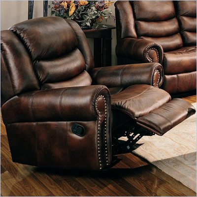 Coaster Aiden Traditional Rocker Recliner with Nailhead Trim in Coffee