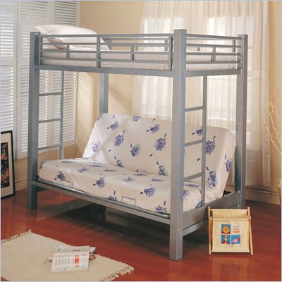 Coaster Alicia Metal Twin over Futon Bunk Bed in Silver Finish