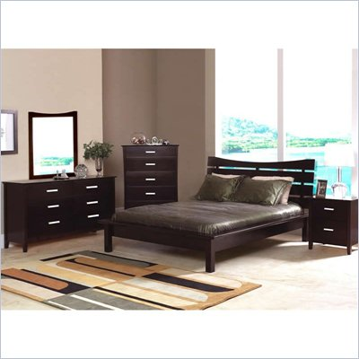 Coaster Auburn Queen Platform Bed 4 Piece Bedroom Set in Cappuccino