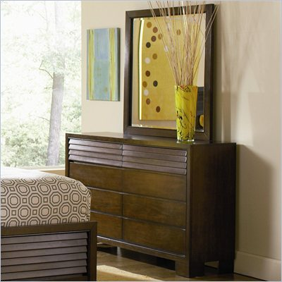 Coaster Audrey Double Dresser and Mirror Set in Warm Mahogany