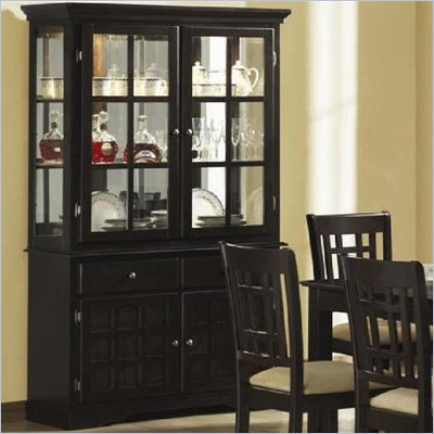 Coaster Baldwin Buffet &amp; Hutch with 2 Glass Doors Deep Cappuccino