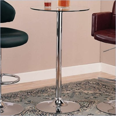 Coaster Glass Top Round Bar Table with Chrome Base