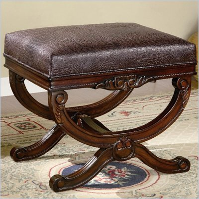 Coaster Benches Traditional Upholstered Faux Leather Bench