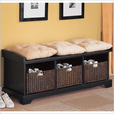Coaster Black Storage Bench with Baskets