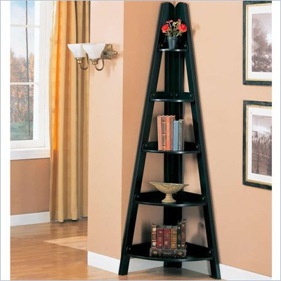 Coaster Bookcases Casual Corner Shelf in Black