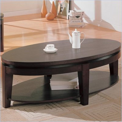 Coaster Bosworth Oval Cocktail Table with Shelf in Deep Dark Cappuccino Finish