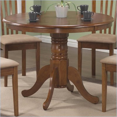 Coaster Brannan 40&quot; Round Single Pedestal Dining Table in Maple Finish