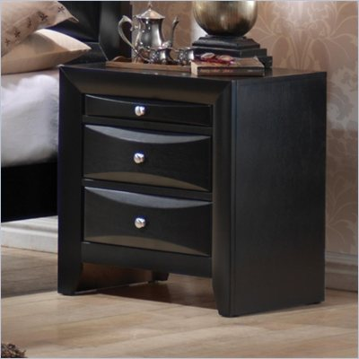Coaster Briana 2 Drawer Nightstand in Glossy Black Finish