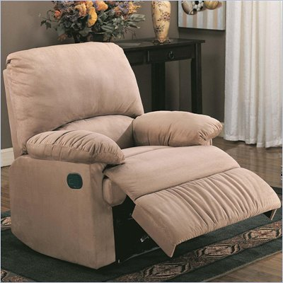 Coaster Casual Microfiber Recliner Chair in Light Brown