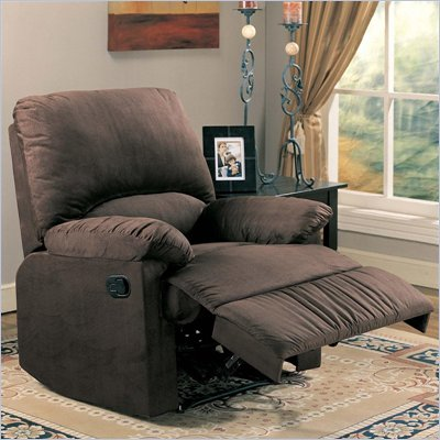 Coaster Casual Microfiber Recliner Chair in Chocolate