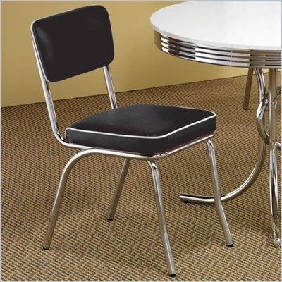 Coaster Cleveland Chrome Plated Side Chair with Black Cushion