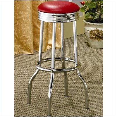 Coaster Cleveland Chrome Plated Soda Fountain Bar Stool in Red
