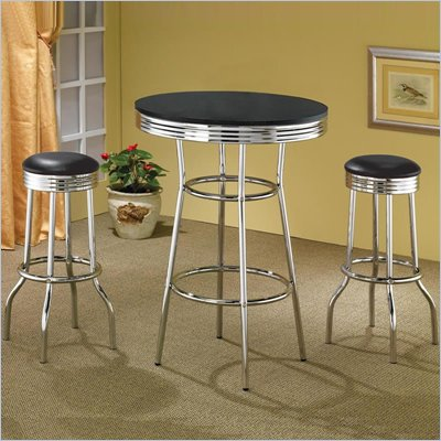 Coaster Cleveland 50's Soda Fountain 3 PC Pub Table Set 