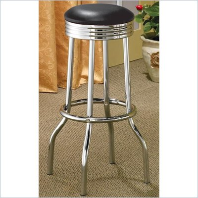 Coaster Cleveland Chrome Plated Soda Fountain Bar Stool in Black