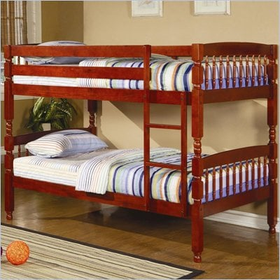 Coaster Coral Bunk Bed in Warm Cherry Finish