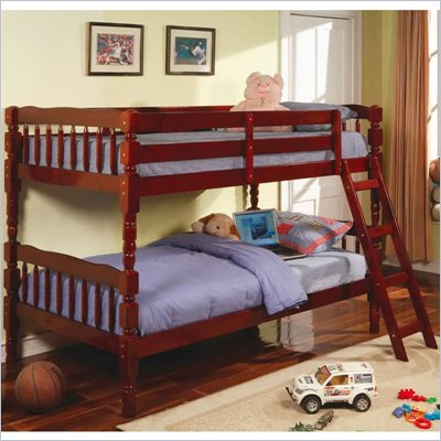 Coaster Corinth Twin over Twin Bunk Bed in Cherry Finish