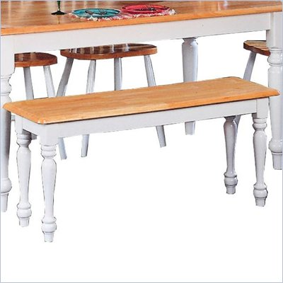 Coaster Damen Traditional Wood Dining Bench in Warm Natural and White Finish