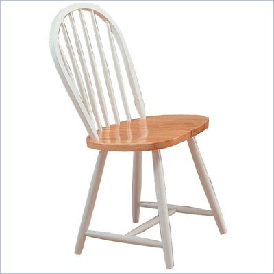 Coaster Damen Windsor Dining Side Chair in Warm White and Natural Wood Finish