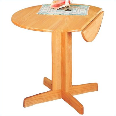 Coaster Damen Round Wood Pedestal Dining Table with Leaf in Warm Natural Finish