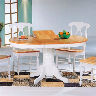 Coaster Damen Oval Pedestal Table with Leaf in Natural and White