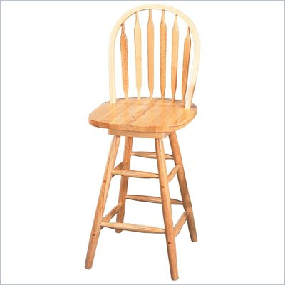 Coaster Damen 24 Inch Arrow Back Windsor Swivel Bar Stool in Natural Wood Finish