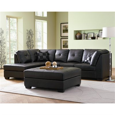 Coaster Darie Leather Sectional Sofa with Left-Side Chaise in Black