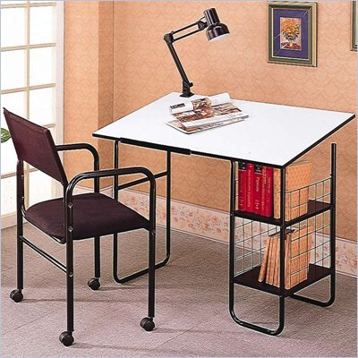 Coaster Desks 3 Piece Drafting Desk with Chair and Lamp