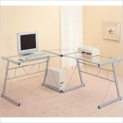 Coaster Desks Metal L-Shaped Desk with Glass Top in Silver