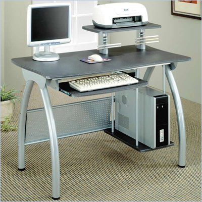 Coaster Desks Gray Computer Desk w/ Keyboard Tray &amp; Computer Storage