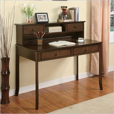 Coaster Desks Classic Writing Desk with Small Storage Hutch in Walnut