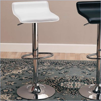 "Coaster 29"" Height Adjustable Bar Stool with Chrome Base in White"