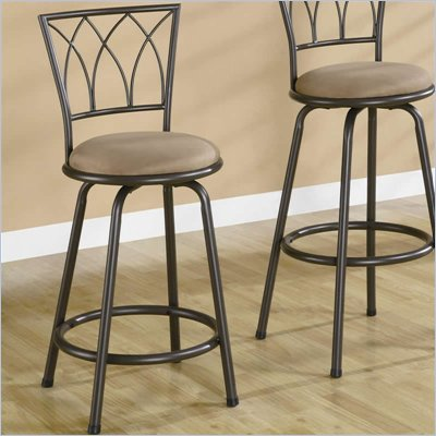 Coaster 24 Inch Metal Bar Stool in Blk/Brown