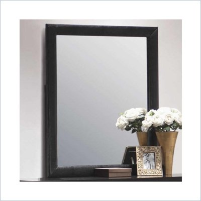 Coaster Dylan Vertical Faux Leather Dresser Mirror in Black