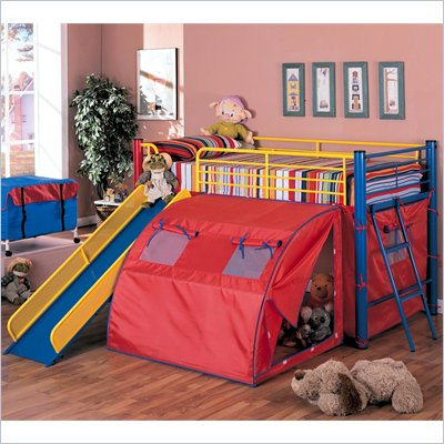 Coaster Kids Twin Metal Loft Bunk Bed with Slide and Tent