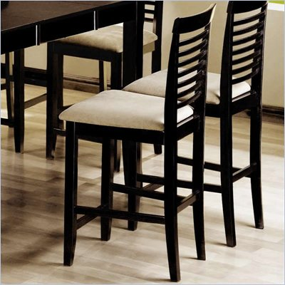Coaster Geneva Ladder Back Bar Stool w/ Upholstered Seat in Cappuccino