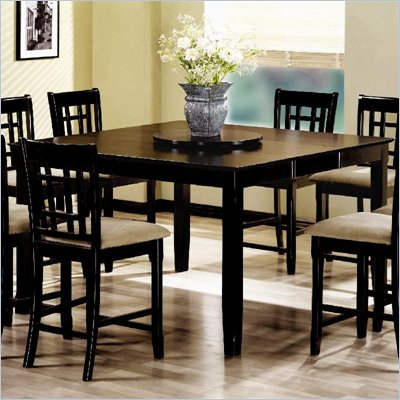 Coaster Geneva Counter Height Square Dining Table with Extension in Cappuccino